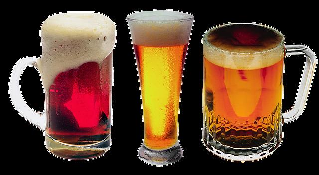 pivo v různých sklenicích