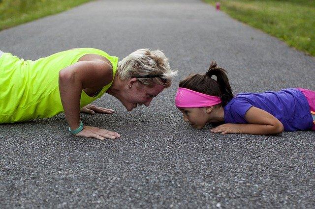 sportování matky a dcery