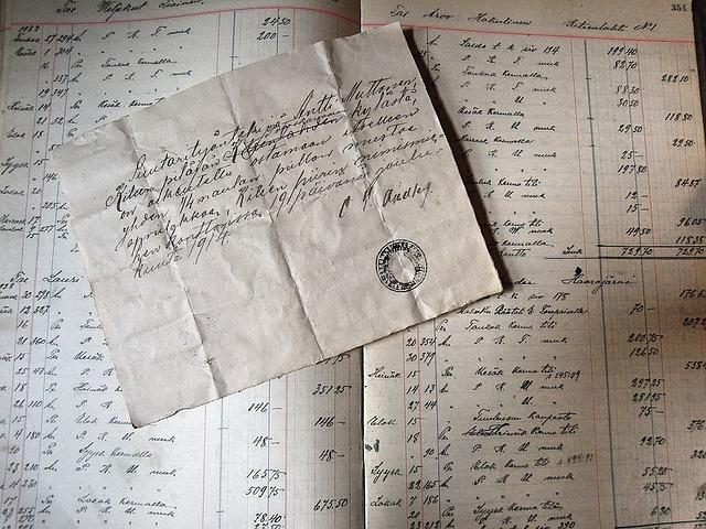 staré účetní záznamy